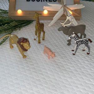 Lot of 5 safari animal toys Zoo RARE bendable 🐖